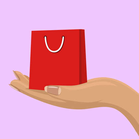 Empty whopping bag in female hand. Shopping concept for your design. Illustration