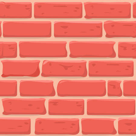 Brick wall Seamless texture. Continuous loop background. Cartoon style flat and solid color vector illustration.  イラスト・ベクター素材