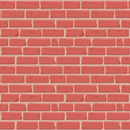 Brick wall Seamless texture. Continuous loop background. Cartoon style flat and solid color vector illustration. Illustration