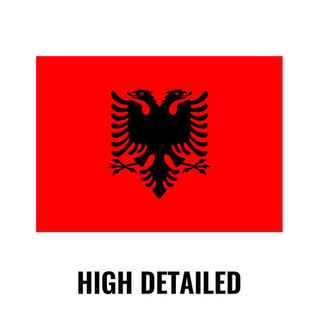 High detailed flag of Albania. Flat and solid color vector illustration.  イラスト・ベクター素材