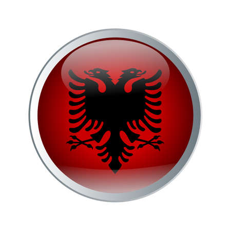 Shiny and glossy button with High detailed flag of Albania. Flat and solid color vector illustration.