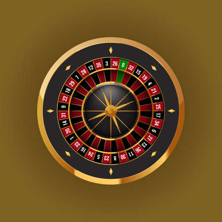 Realistic casino gambling roulette wheel. High detailed vector illustration.
