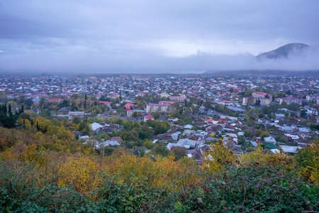 Sheki city view shot from mountain. 20 November 2019. Sheki Azerbaijan 新闻类图片