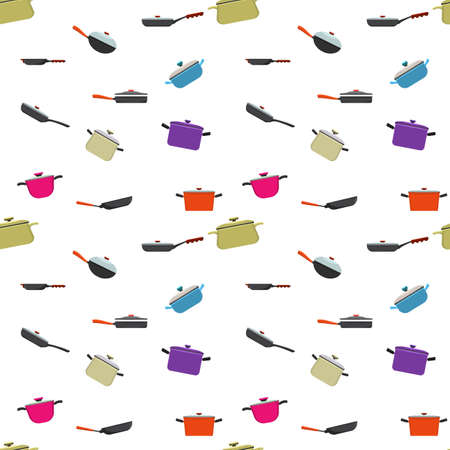 Kitchenware and cooking utensils colorful seamless pattern. Flat and solid color vector illustration.