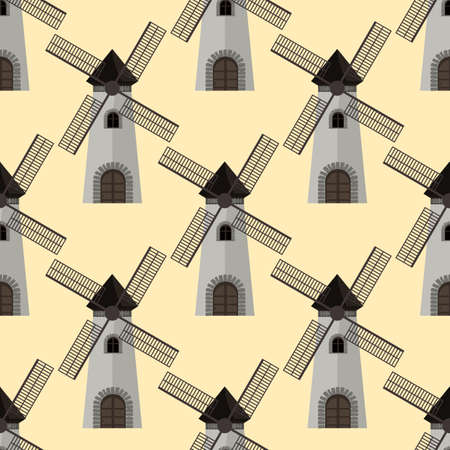 Seamless pattern windmills. Flat and solid color Vector illustration