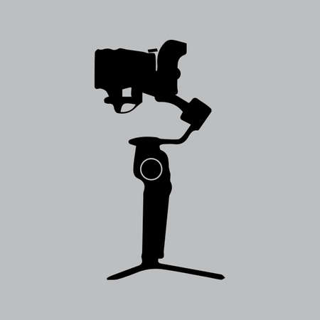 Gimbal with mirrorless camera. Black color vector illustration.