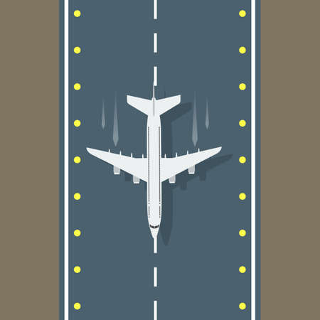 Airstrip with airplane aerial top view for your design. Vector illustration.  イラスト・ベクター素材