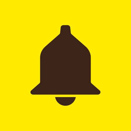 Bell Icon Symbol. Isolated bell silhouette. Flat color vector illustration.