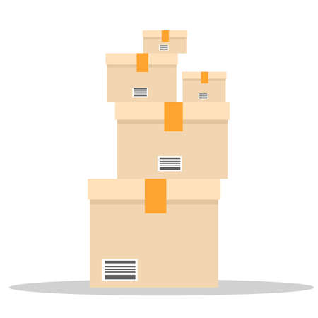 A pile of boxes. Stack of Cardboard with different size. Flat and solid color vector illustration.