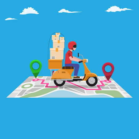 Fast and free delivery by scooter on navigation map with pin points. Catoon style flat and solid color vector illustration.
