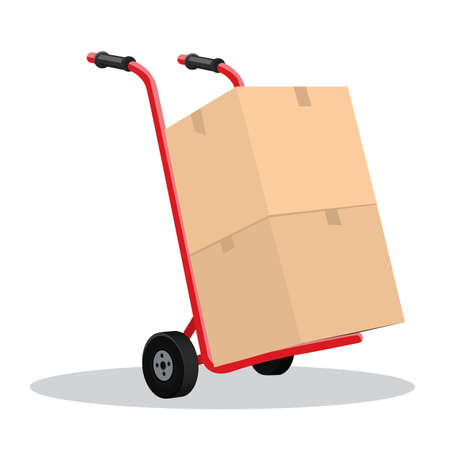Hand truck and cardboard boxes with purchases or post package. Flat and solid color vector illustration.