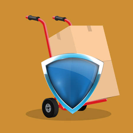 Cardboard box on hand truck and protection shield. Safety shipment concept. Vector illustration.