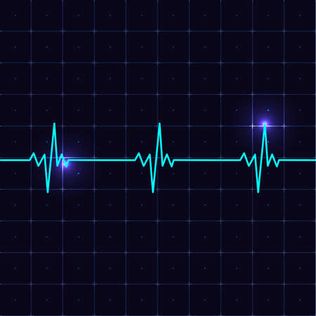 Heart beat cardiogramm. Heart pulse with realistic screen and light effect. Vector illustration