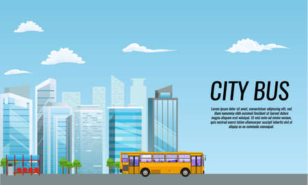 City public transport service flat poster at bus stop shelter. Flat and solid color vector illustration.