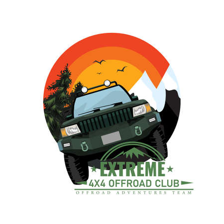Off-road car or expedition offroader with mountain and forest nature background for round or circle label badge. Vector illustration.