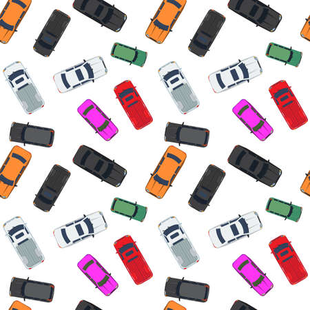 Different Cars Top View Position Seamless Background Pattern for your design. Vector illustration