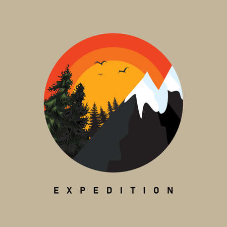 Vintage Mountain logo with Circle badge or label. Mountain or Nature emblem design. Vector illustration. Illustration