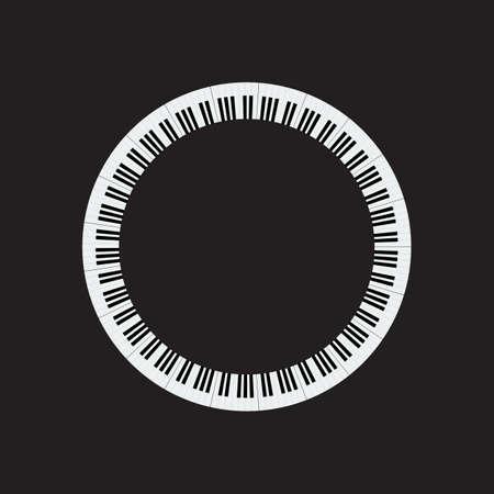 Plate piano key frame border. Piano keyboard Circle shape vector illustration.
