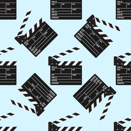 Cinema or Movie clapper seamless pattern for your design. Film clapper board. Flat color Vector Illustration
