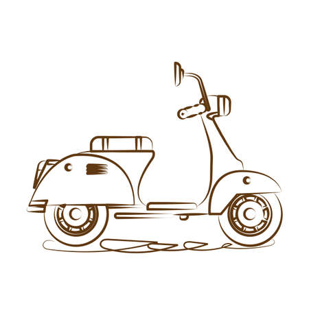 Scooter delivery with line art style. Outline motorcycle icon. Vector illustration.
