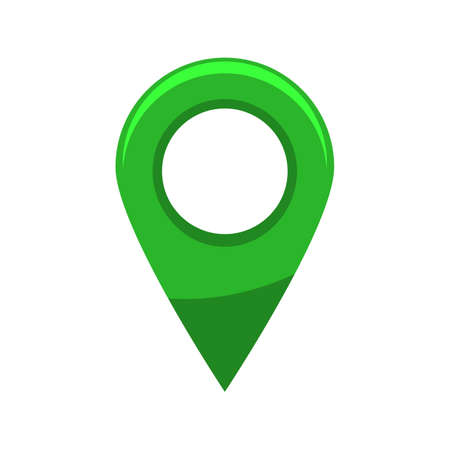 Cartoon style shiny or glossy map pin. Flat and solid vector illustration. Illustration