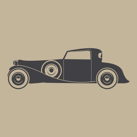 Muscle Classic or retro car side view. Flat and solid color vintage vector illustration.