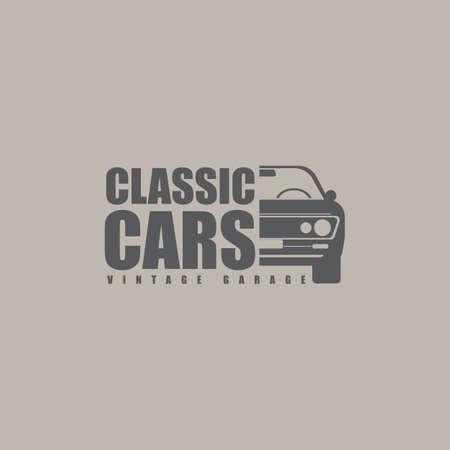Muscle car logo template design element vintage style. Vector illustration