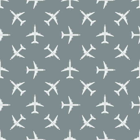 White top aerial view airplane on graye background seamless pattern. Flight concept texture vector illustration.