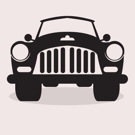 Muscle Classic or retro car front view. Flat and solid color vintage vector illustration. Illustration