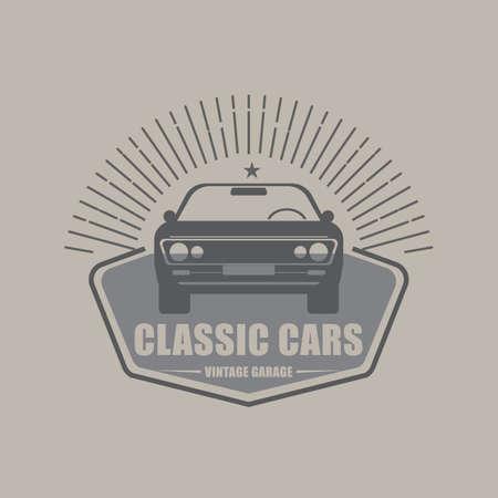 Muscle retro or vintage car logo design element with vintage style for label or badge. Vector illustration symbol.