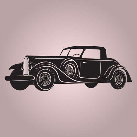 Muscle Classic or retro car front and side view. Flat and solid color vintage vector illustration.