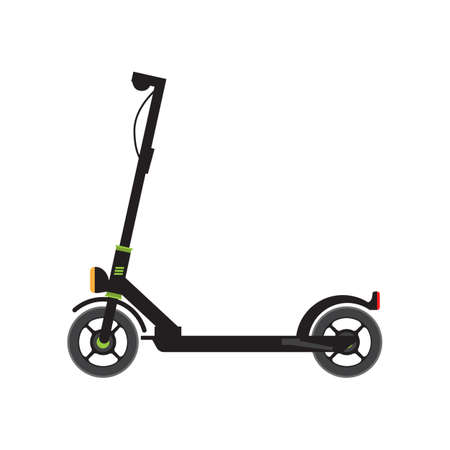 Electric Scooter side view. Flat and solid color vector illustration. Illustration