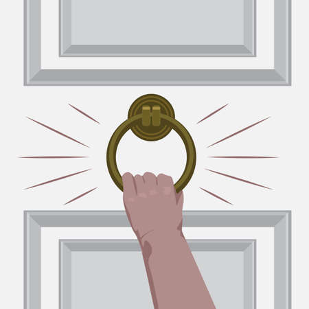 Hand knock on the door of the room. Flat and solid color vector illustration.