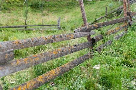 An old wooden fence in a small detached village in Carpathian mountains, Ukraine. Everything is covered with fresh green grass. Fences are designed to stop cattle from going everywhere.