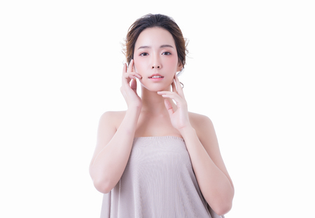 Beautiful  young  Asian woman with healthy clean skin and fresh on white background. Skincare and Cosmetology concept.