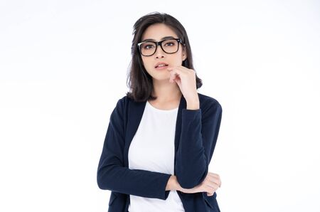 Portrait of an executive professional Asian businesswoman in casual standing against at isolated on a white background Stock fotó