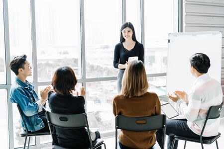 Beautiful young business Asian woman coaching and teaching in modern office. Education And Development in Corporate, On job training. Learning Coaching Business Concept.