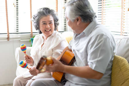 Portrait of smiling senior couple playing guitar singing and her wife holding maracas dancing and sitting on sofa at home. Enjoying lifestyle during retirement life at home. 免版税图像