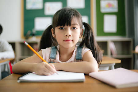 Portrait of little Asian girl writing or drawing in notebook at desk in classroom and looking at camera at the elementary school. Education knowledge, activities with kids concept.