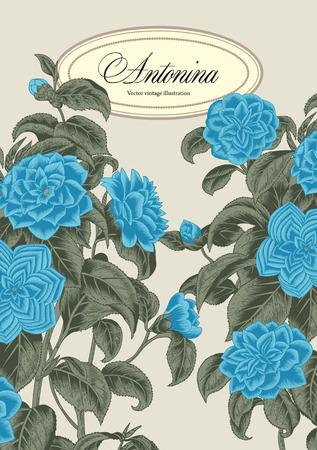 botany: Flowers. Elegant frame with flowers. Vintage vector illustration. Classic card. Engraving with floral pattern. Botany. Illustration