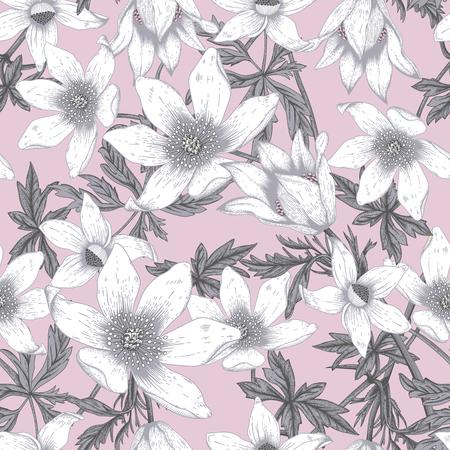vintage: Flowers. Seamless vector background. Vintage illustration. Illustration