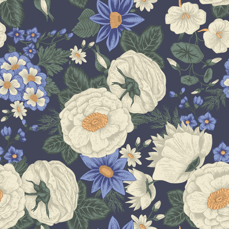 Flowers. Seamless vector background. Vintage illustration.  イラスト・ベクター素材