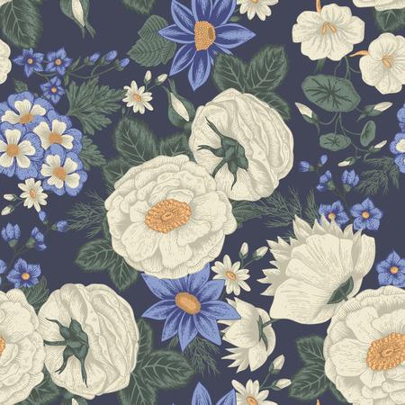 Flowers. Seamless vector background. Vintage illustration. Stock Illustratie
