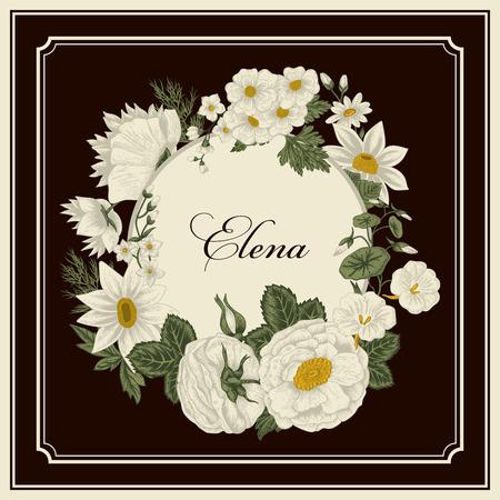 Flowers. Vintage. Vector illustration. Stylish card. Botany. Floral pattern. Classical frame.