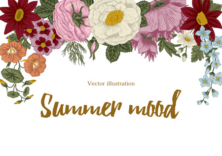 exotics: Flowers. Vintage vector illustration. Classic card. Engraving with floral pattern. Botany. Bouquet. Illustration