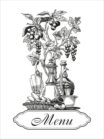 Menu. Vector illustration in vintage style. Engraving. A restaurant.