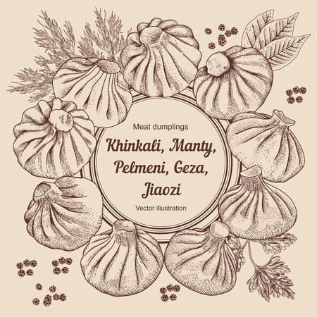 Khinkali, Nikuman, manti, dumplings, pelmeni. Geza, Jiaozi. Meat dumplings. National dishes. Dinner. Products from the dough and meat. Vector vintage illustration. Ilustração
