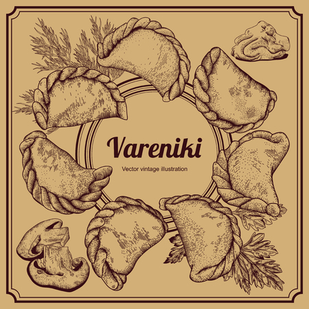 Vareniki. Russian food. National cuisine. Vector illustration. Dishes from the test with a stuffing.