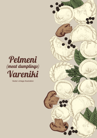 Vareniki. Pelmeni. Meat dumplings. Food. Dill, parsley, black pepper, bay leaf. Cooking. National dishes. Dinner. Products from the dough and meat. Vector vintage illustration.