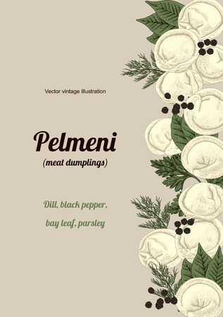 Pelmeni. Meat dumplings. Food. Dill, parsley, black pepper, bay leaf. Cooking. National dishes. Dinner. Products from the dough and meat. Vector vintage illustration.